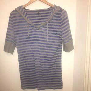 Women's XL Blue Gray Striped Hoodie Sweater